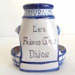 """Moutardier / Saleron en Faience de NEVERS XIXeme A.Montagon """"Les Frères Gros DIJON"""""""