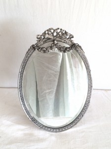 Miroir de style LOUIS XVI, en Métal Argenté - Glace biseauté