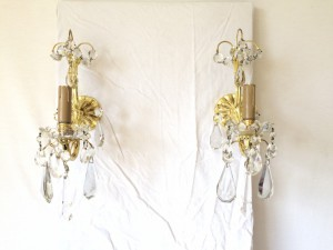 Ancienne Paire d'Applique à Pampilles en cristal et Bronze Doré XIXeme